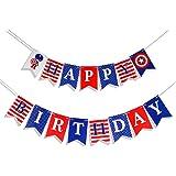 Moohome Black and Gold Happy Birthday Decoration Kits, Happy Birthday Banner, Hanging Streamers/Swirls, Paper Garland Pom-Pom