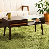センターテーブル スタイリッシュ ディスプレイ 木目調 強化ガラス 収納付き ダークブラウン色Aタイプ