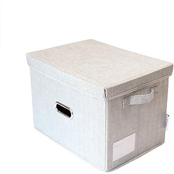 KTJ 収納ボックス 収納ケース ふた付き 折りたたみ 積重ね収納ケース 大容量 カゴ インナーボックス 不織布収納ボックス カラーボックス 整理箱 小物入れ おもちゃ箱 書類 衣類 クローゼット収納 押入れ収納 蓋付 コンパクト (ライト グレー, 37x27x26cm)