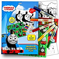Thomas the Train Stickers Colouring Activity Set With, Washable Markers, Sticker Sheets and Colouring Pages Bundle with 1 Separately Licenced Colouring Sticker by Thomas & Friends