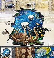 C671 巨大 3D フロアマット 3m*4m* 海 水族館 風景 景色 リフォーム リメイク 防音 断熱 滑り止めシート 床 壁 天井 はがせるシール