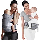 Bebamour Baby Carrier with Hip Seat for All Seasons, 6 in 1 Comfortable & Safe for Infant & Toddlers,Ergonomic Baby Backpack