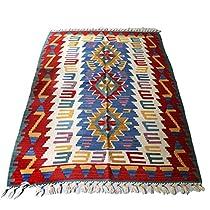 カイセリキリム・やわらかな織りのスタンダードキリムジグザグのダイヤ・オオカミのモチーフ169×112cm【16736】
