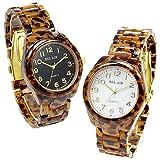 [ベルエア]Bel Air 腕時計 レディース べっ甲柄 カジュアル ウォッチ 軽量素材 女性用 OSD54 (ブラック(文字盤))