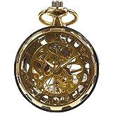 [モノジー] MONOZY 手巻き 機械式 懐中時計 (1) ゴールド)