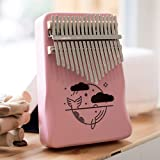 Kalimba Pink Thumb Piano 17 Keys C Tone Mahogany Profession Marimbas Whale/Panda/Piggy/Deer Finger Instrument for Kids Adult