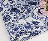 民族柄 綿 麻 布 生地 手芸 衣類用 幅145cm 長さ200cm カラー 花柄 刺繍 中華風 コットンリネン ハンドメイド (青花・陶磁器風)