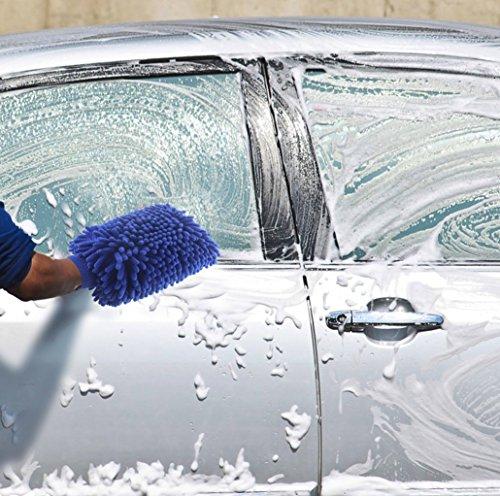 MIDWEC 2枚セット洗車用ミット洗車タオルナノファイバー材質 丈夫耐用  ウェットとドライ両用 マイクロファイバー シェニール 両側可用 洗車用ブラシ 洗車用スポンジ 部屋の掃除にもいいクロス タオル キッチン 家電製品 家具 窓ガラス クリーニング 汚れ落とし カラ拭き 水拭き ブルー