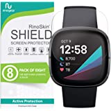 (8-Pack) RinoGear Screen Protector for Fitbit Sense Case Friendly Fitbit Sense Screen Protector Accessory Clear Film
