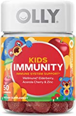 OLLY Kids Immunity Gummy Vitamins With Elderberry, Vitamin C, Zinc, For Immune System 25 Day Supply, 50 count