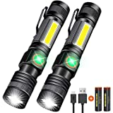 Hoxida USB Rechargeable Flashlight (Battery Included), Magnetic LED Flashlight, Super Bright LED Tactical Flashlight with Cob