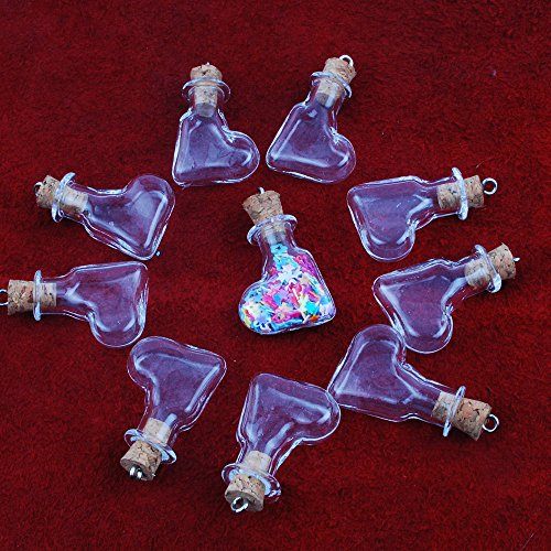 Dowonsol 10個靴型ガラスの小瓶  ミニボトル 手芸材料 手作り雑貨 アクセサリー コルク  DIY ペンダント用 ねじ付き高27mm