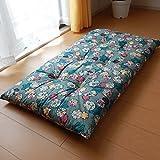 日本製 長座布団 68×120cm しぼりうさぎ柄 綿100%しっかり側生地 (グリーン)