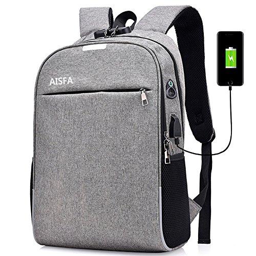 AISFA リュックサック バックパック PCバック ビジネスリュック 盗難防止 パスワードローク 大容量 ラップトップバック バックパック USBポートイヤホン穴付き (グレー)