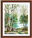 クロスステッチ刺繍キット 布地に図柄印刷 林湖