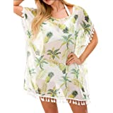 Women Beach Cover up Swimsuit Beach Print Tassels Bikini Chiffon Swimwear