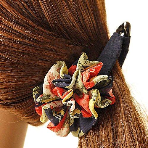 【Misakira】バナナクリップ 大きめ クリップ シフォン リボン 上品 ヘアクリップ 花 人気 真珠飾り 絹糸 ヘアアクセサリー レディース