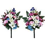 山久 造花 仏様のお供えに ユリ と りんどう と 小菊 の花束一対 仏花 1007-6675 CT触媒加工 シルクフラワー