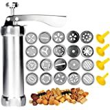 Cookie Press Gun - Spritz Cookie Press for Baking,Stainless Steel Biscuit Maker,Churros Maker with 4 Nozzles and 20 Cookie Ma