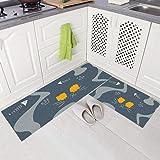 Gigicloud 2Pcs/Set Nonslip Floor Mat Oil Absorbent Long Kitchen Carpet Rug for Home Kitchen Cat Fish Bone 40 * 60+40 * 120cm