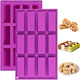 Palksky (2 Pack)12 Cavity Medium Narrow Silicone Rectangle Molds/Molds/Protein Bars mold/Energy Bars Maker for Caramel Bread