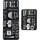 Leebei Kitchen Rugs Floor Mat Kitchen Mats Set Non-Slip Washable,Indoor Doormats Area Rugs for Kitchen Bedroom Bathroom Carpe