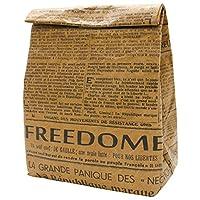プライムナカムラ クラフトフード 保冷バッグ M (ニュースペーパー) ショッピングバッグ ランチバッグ デザイン 不織布 保冷保温 (33cm×20cm×12cm)