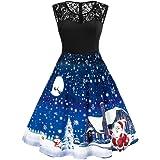 LeaLac Women Fashion Halloween Vintage Short Sleeve Lace A Line Swing Dress Party Dress
