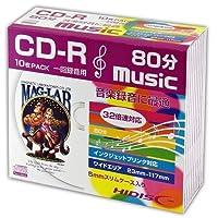 【100枚セット】HIDISC HDCR80GMP10SC CD-R 音楽用 80分 32倍速対応 ワイドプリンタブル白 5mmケース 10枚パック×10個
