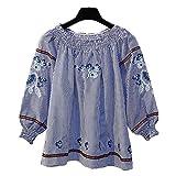 【Goodgoods】シャツ レディース 長袖 ブラウス レディースTシャツ 刺繍 シャツ ストライプ ゆったり カジュアル 014-a2685-knm(フリーサイズ ブルー )