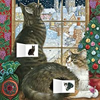 Ivory Cats Christmas Window Calendar With Stickers