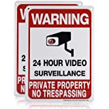 Private Property No Trespassing Sign, Video Surveillance Signs Outdoor, UV Printed .040 Mil Rust Free Aluminum 10 x 7 in, Sec