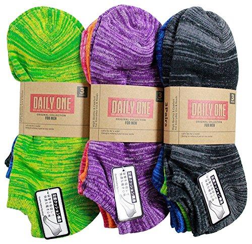 【靴下 メンズ】 足底パイル編み ミックス地デザイン 9足セット 【ショートソックス】【メンズソックス】 (25-27cm)