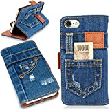 本格デニム iPhone7 ケース 手帳型 (アイフォン7) マグネット式、スタンド機能、カード収納、人気アイホンケース