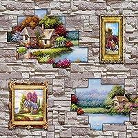 Wxmca 壁紙3D牧歌的な油絵風景石造りの背景壁の壁紙壁画リビングルームオフィスの装飾-280X200Cm