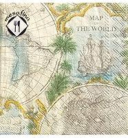 MesaFina ヴィンテージ世界地図 カクテル 飲み物用ペーパーナプキン 20枚