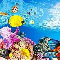 CUHAWUDBA 水族館の背景紙HD画像3D三次元魚のタンクの壁紙の背景の絵両面水族館装飾的な魚のタンクのステッカー(40x102cm)