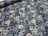ナイロンオックス リバティ風フラワー ブラック |生地|布地|安い|