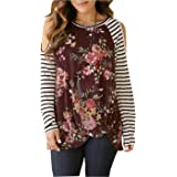 Cold Shoulder Tunic Top Women Floral Print Stripe Long Sleeve Twist Knot Front Tunics Blouse