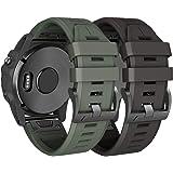 NotoCity Compatible Fenix 5X Plus Bands Sport Silicone Watch Strap for Fenix 5X/Fenix 5X Plus/Fenix 3/Fenix 3 HR(Black/Army G