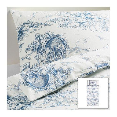 RoomClip商品情報 - IKEA(イケア) EMMIE LAND 150x200/50x60 cm 20216645 掛け布団カバー&枕カバー、ホワイト、ブルー