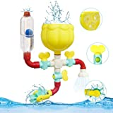 Pipes Baby Bath Toys for Toddler Bath Toys,Kids Bath Toys with Fun Widgets Squirters Rotating Spray Water Toy,Ball and Tube W