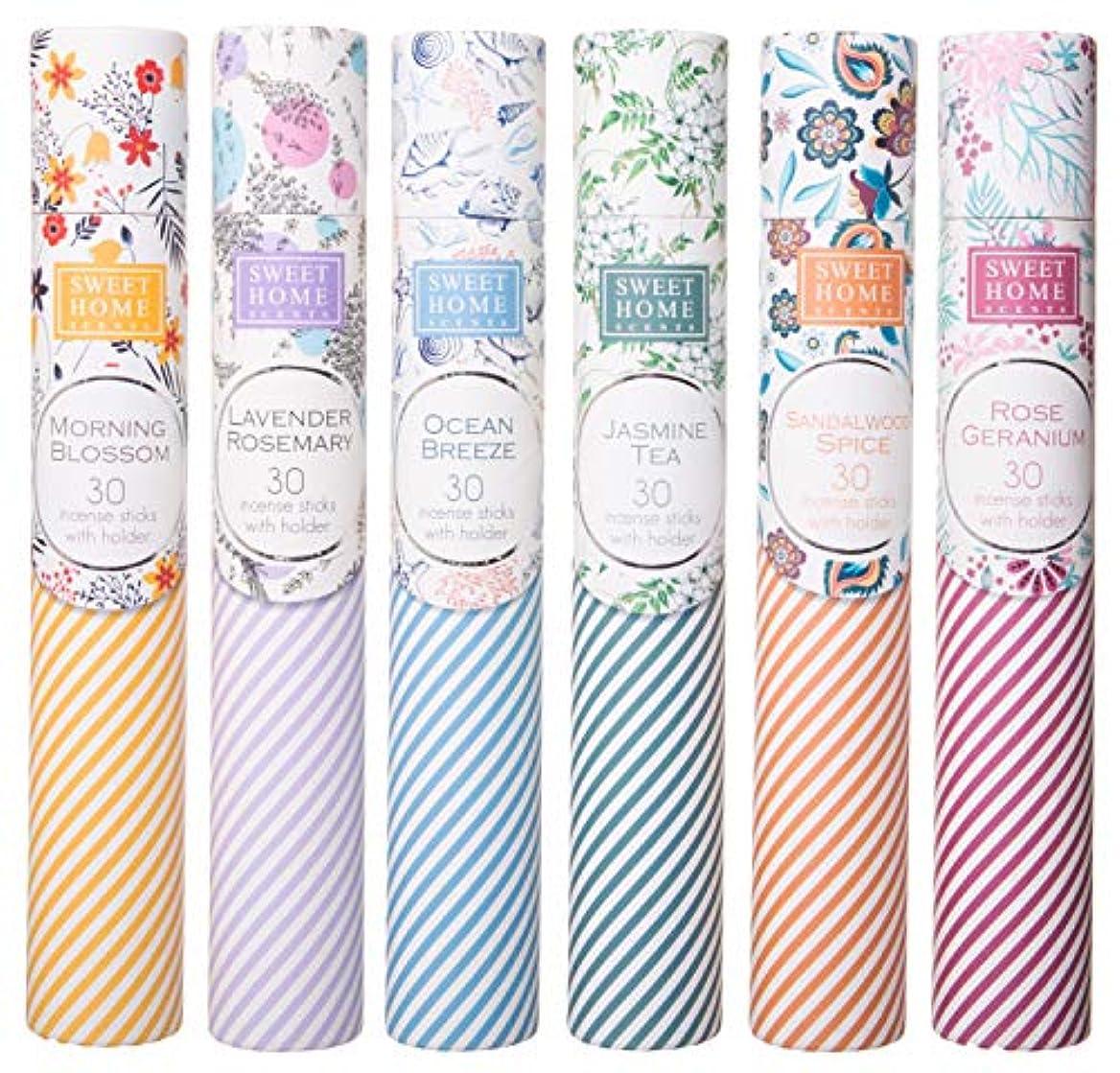 クックペネロペエッセンスSweet Home Scents プレミアムスパ お香 180本 6本の木製ホルダー付き ギフト包装用チューブ入り 6本セット 6種類の香り
