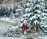 Wowdecor 数字油絵 数字キット40×50cm - ガールディアー雪の森クリスマスツリーの風景 - DIY ぬりえ 塗り絵 絵画 趣味 インテリア (フレーム付き)