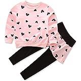 iChunhua Girls Adorable Long Sleeve Heart Printed Princess Toddler Pantskirt Outfit Set