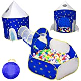 Kids Tent 3 in 1 with Ball Pit, MyCuteBabyLife Kids Play Tent 3pc Rocket Ship, Play Tunnel & Ball Pit with Carry Bag - Pop Up