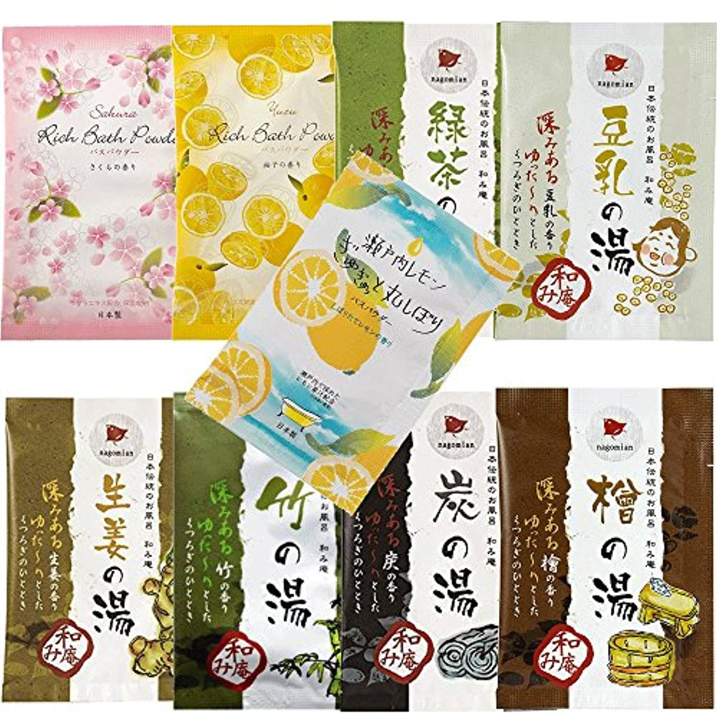 橋脚ブル誓い日本伝統のお風呂 和み庵 6種類 + バスパウダー 3種類セット 和風入浴剤 9包セット
