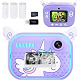 Instant Print Camera for Kids, Girls Boys Zero Ink Print Photo Selfie Video Digital Camera with Paper Film, 3-12 Years Old Ch