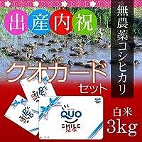 【出産内祝い・グループへのお返しに】新潟コシヒカリ(アイガモ農法・無農薬米) 3kg 贈答箱入り+クオカード1000円分×5枚セット