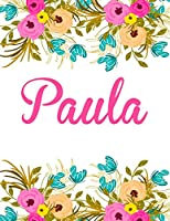 Paula: Personalised Name Notebook/Journal Gift for Women & Girls 100 Pages (White Floral Design)